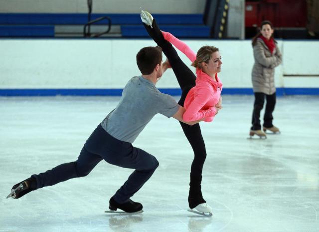 U.S. pairs skaters Shaughnessy/Morgan in practice