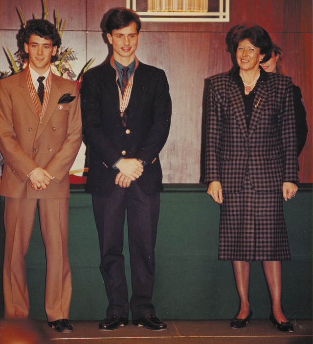 Sonia with two skaters she admired: Brian Boitano and Brian Orser