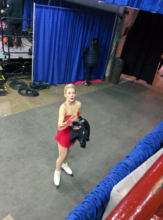 Gracie Gold talking with fans after practice