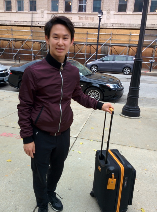 Denis Ten on his way back to the hotel